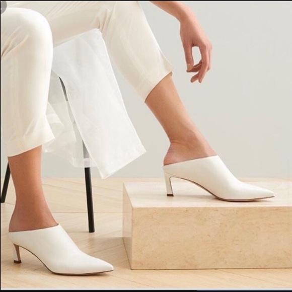 White Mira Pointy Toe Mule Sz